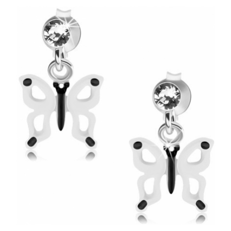 Náušnice ze stříbra 925, bíločerný motýlek s výřezy na křídlech, krystal Šperky eshop