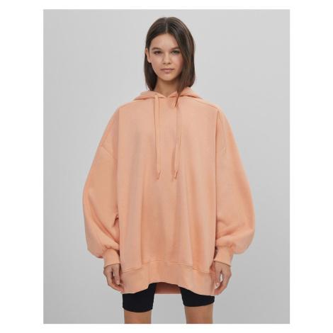 Bershka oversized hoodie in peach pink