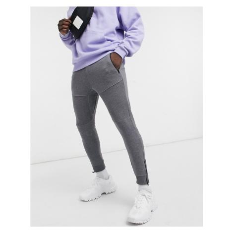 Bershka panelled joggers in grey