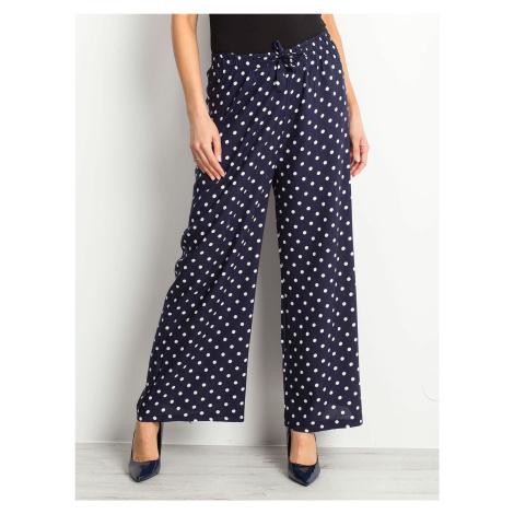 Tmavě modré puntíkované kalhoty FPrice
