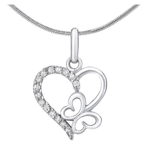 Silvego Stříbrný přívěsek srdce s motýlkem ZT54279