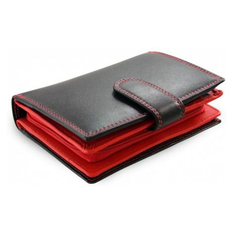 Černočervená dámská kožená peněženka se zápinkou Jennifer Arwel