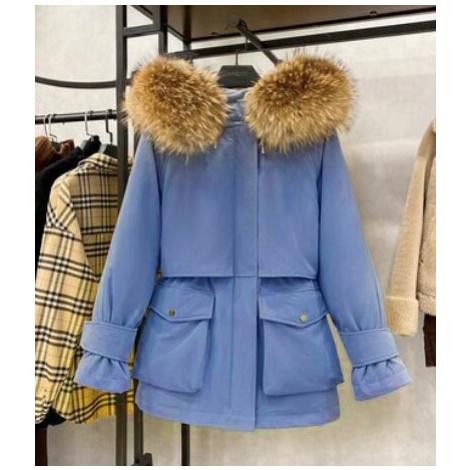 Péřová zimní bunda s pravým kožíškem z myvala