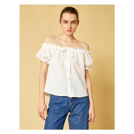 Koton Women's White Off Shoulder Short Sleeve Ruffled Shirt