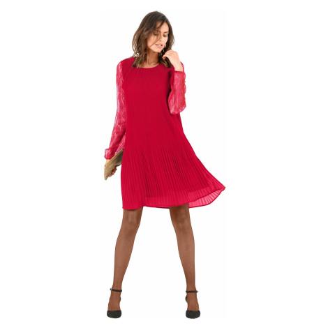 Blancheporte Šaty s plisováním a krajkou červená