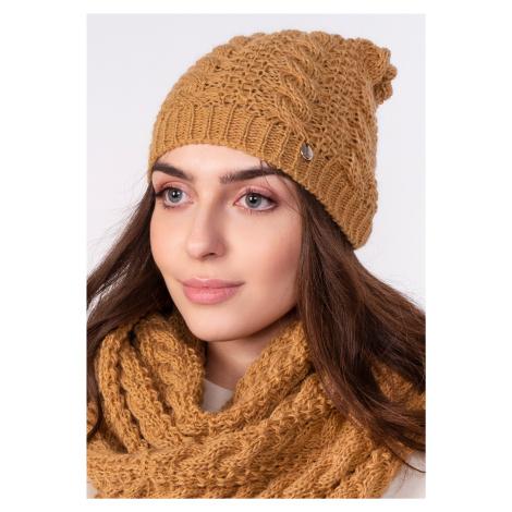 Zimní set šátek izolační proti chladu + čepice s copánkovým vzorem