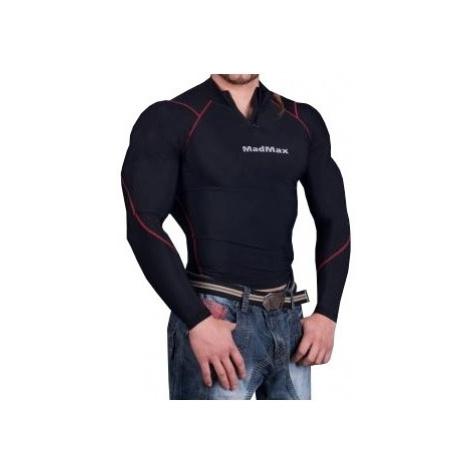 MadMax Kompresní triko s dlouhým rukávem se zipem MSW903 černočervené