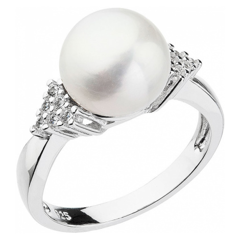 Stříbrný prsten s bílou říční perlou 25002.1 Victum