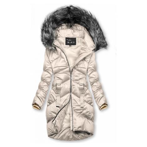 Krémová lesklá prošívaná bunda na zimu Butikovo
