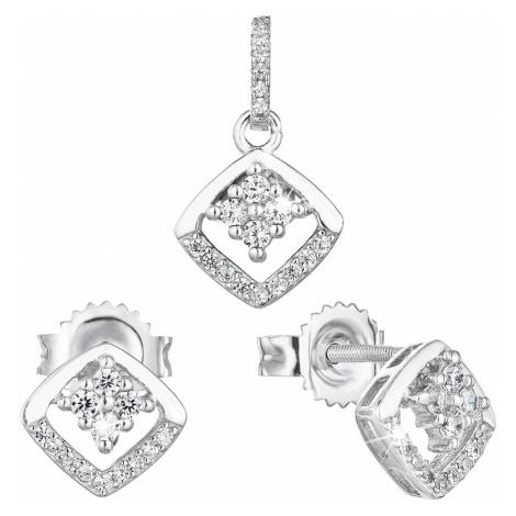 Sada šperků se zirkonem náušnice a přívěsek bílý kosočtverec 19025.1 Victum