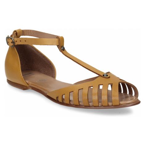 Hořčicové dámské kožené sandály Baťa