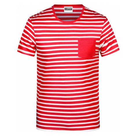 Pruhované tričko Bílo-červené JN - pánské