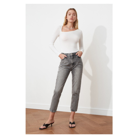 Trendyol Gray High Waist Mom Fit Jeans