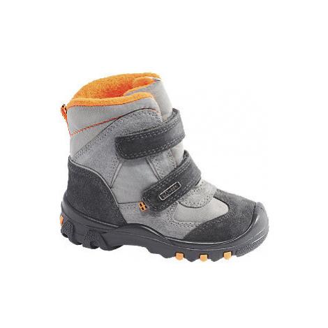 Šedá dětská zimní obuv na suchý zip Elefanten s TEX membránou