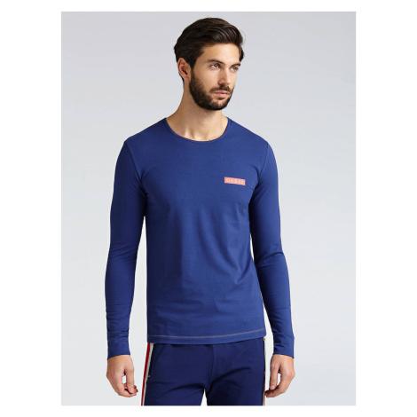 GUESS pánské tričko modré s dlouhým rukávem