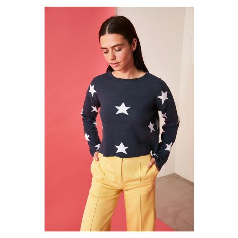 Trendyol Navy Blue Star Jacquin Knitwear Sweater