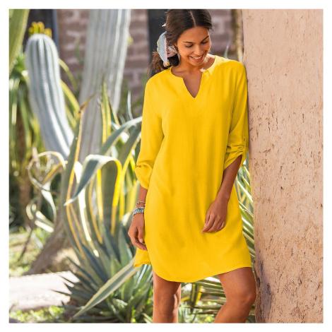 Blancheporte Plážová tunika, jednobarevná žlutá