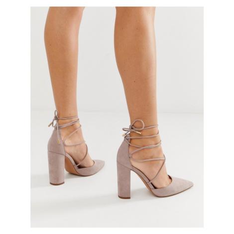 ASOS DESIGN Power Trip tie leg high block heels in taupe-Grey