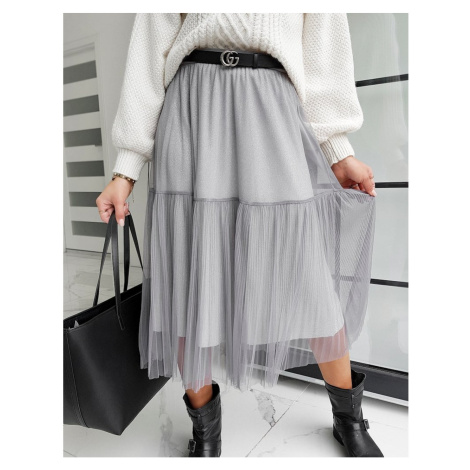 MAXI BETTY TULLE skirt / gray CY0283 DStreet