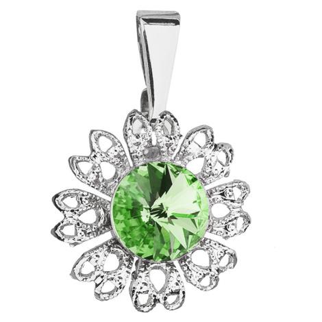 Evolution Group Přívěsek bižuterie se Swarovski krystaly zelená kytička 54032.3