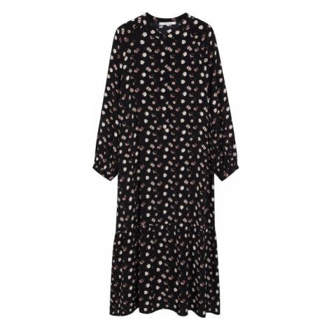 MANGO Košilové šaty 'Wilson' černá / pastelově růžová / tmavě zelená