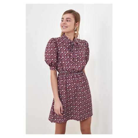 Trendyol Brown Patterned Scarf Collar Dress