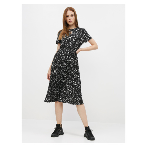 Černé vzorované šaty s plisovanou sukní Dorothy Perkins