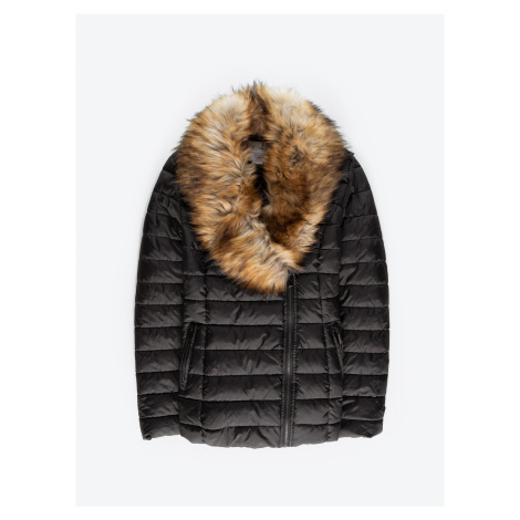 GATE Prošívaná vatovaná bunda s odepínatelným límcem z umělé kožešiny