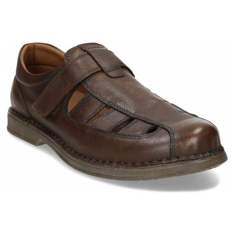 Hnědé kožené letní sandály pánské Baťa