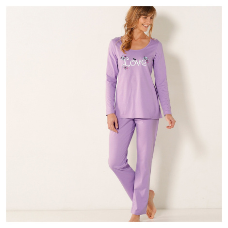 Blancheporte Pyžamo s potiskem love, bavlna lila