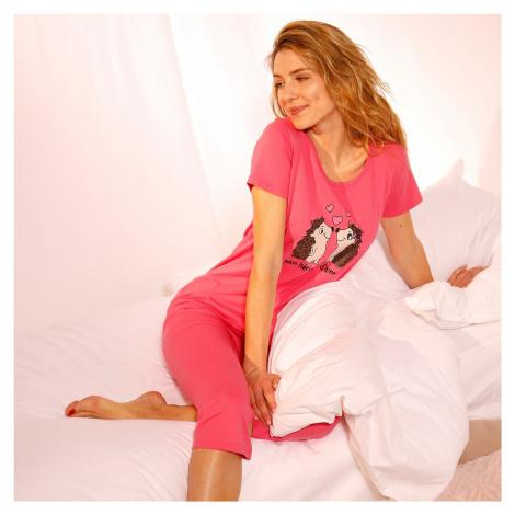 Blancheporte Pyžamo se 3/4 kalhotami a potiskem ježků fuchsie