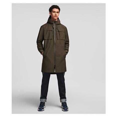Kabát Karl Lagerfeld Lightweight Logo Parka W/Hood - Zelená