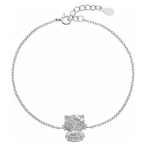 Stříbrný náramek se zirkony kočička 13012.1 Victum