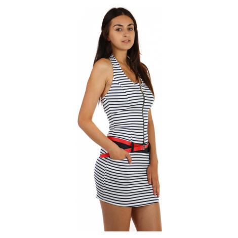 Krátké přiléhavé dámské šaty s proužky