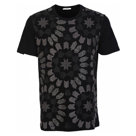 VERSACE COLLECTION pánské tričko s kovově stříbrnou aplikací