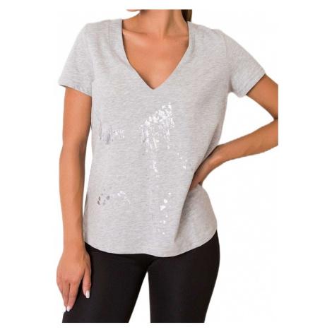 šedé dámské tričko s mašlí