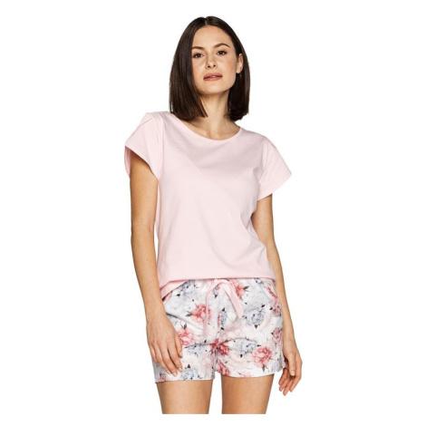 Dámské pyžamo Freya růžové s květinami Cana