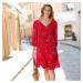 Blancheporte Šaty se šněrováním vzadu a potiskem červená/indigo