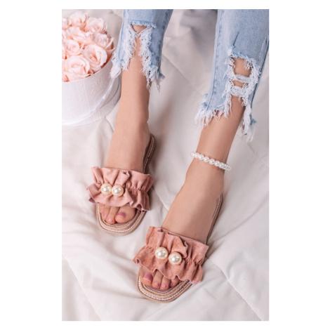 Růžové nízké pantofle s perlami Anette Givana