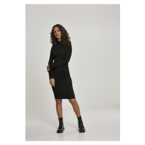 Ladies Peached Rib Dress LS - black Urban Classics