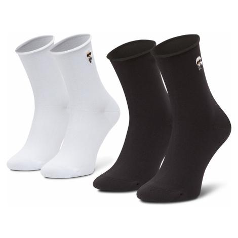 Sada 2 párů dámských vysokých ponožek KARL LAGERFELD - 205W6001 Black/White 998