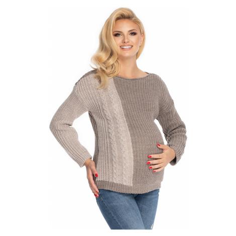 Hnědý těhotenský pulovr 70039 PeeKaBoo