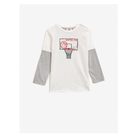 Koton Boy's White Crew Neck Long Sleeved T-Shirt