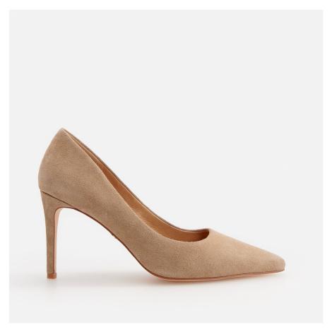 Reserved - Kožené boty na podpatku - Béžová
