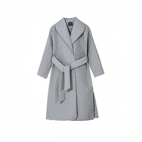 Módní dámský kabát zimní prošívaná parka s podšívkou a páskem