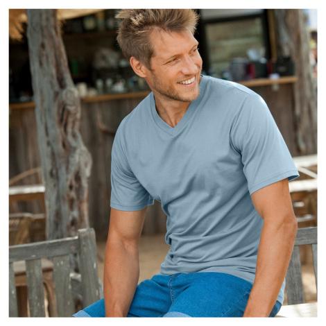 Pánské tričko, výstřih do V, sada 3 ks růžová+modrá+zelená