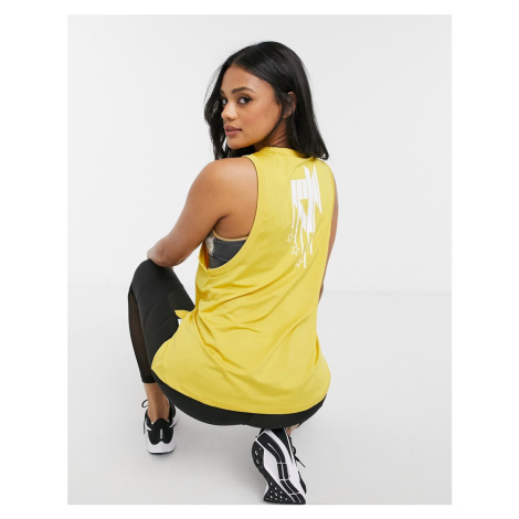 ASOS 4505 drop armhole vest in longer length with MVP back print-Yellow