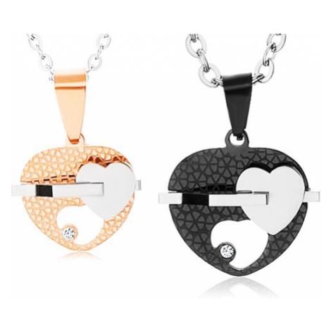 Set ocelových náhrdelníků, dvoubarevná srdíčka s výřezem, čirý zirkon Šperky eshop