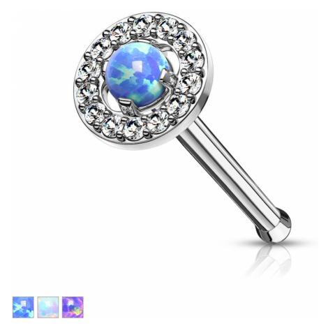 Rovný piercing do nosu z 316L oceli - kamínek s opálovými odlesky, zirkonový lem - Barva: Modrá Šperky eshop