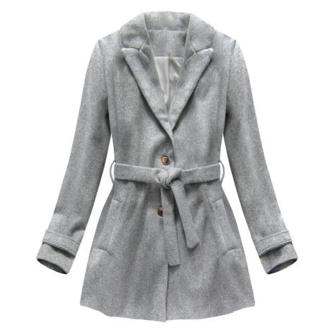 Šedý kabát s knoflíky a páskem (18808) Made in Italy